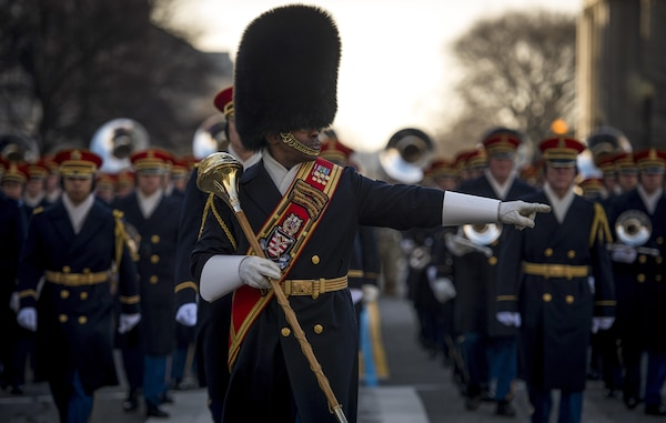 """The Drum Major leads the U.S. Army Band, """"Pershing's Own,"""" during the Department of Defense 58th Presidential Inauguration Dress Rehearsal in Washington, D.C., Jan. 15, 2017. More than 5,000 military members from across all branches of the armed forces of the United States, including Reserve and National Guard components, provided ceremonial support and Defense Support of Civil Authorities during the inaugural period."""