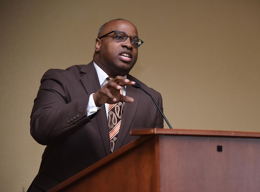 Rev. Eric Dickey, First Missionary Baptist Church pastor, speaks at the annual Dr. Martin Luther King Jr. Memorial Luncheon at the Bay Breeze Event Center, Jan. 17, 2017, on Keesler Air Force Base, Miss. The Keesler African-American Heritage Committee sponsored event honored King's legacy and his efforts to inspire civil rights activism within the African-American community. (U.S. Air Force photo by Kemberly Groue)