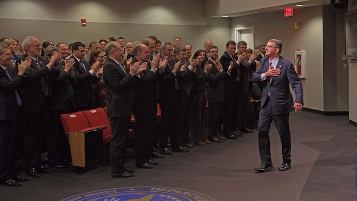 Defense Secretary Ash Carter responds to a standing ovation from audience members attending his farewell address at the Pentagon. Carter thanked DoD personnel for their service and commitment during his remarks.