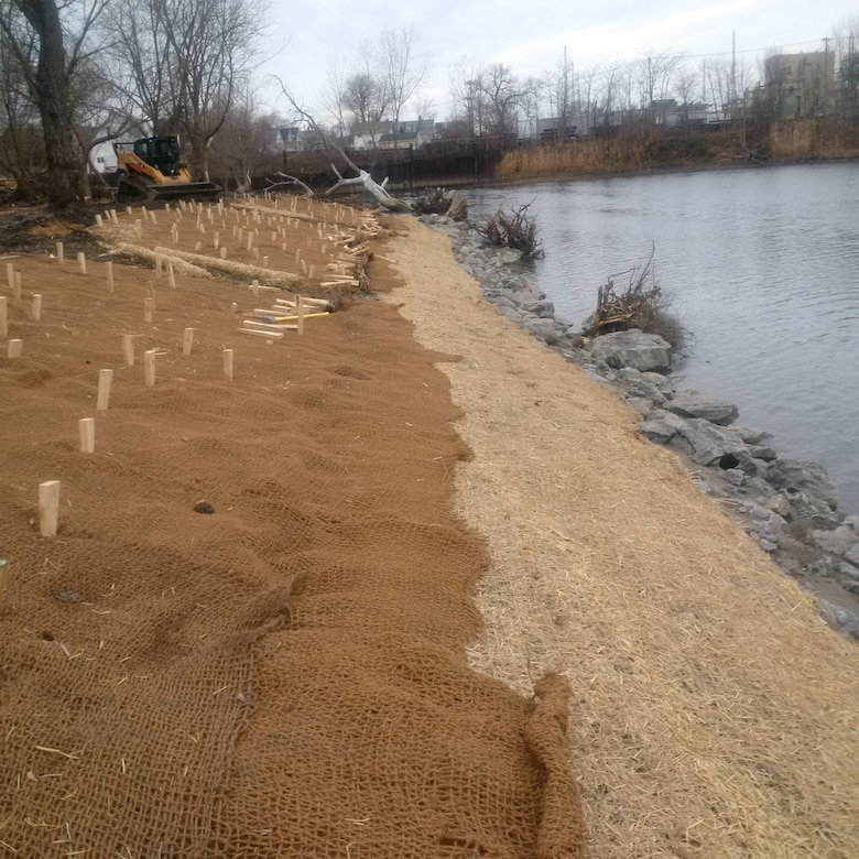 Photo shows work done for slope stabilization. Native seeds have been planted and eventually the site will show healthy, supportive vegetation.