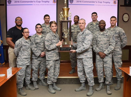 "Col. Michele Edmondson, 81st Training Wing commander, presents the Commander's Trophy to Airmen from the 334th Training Squadron at Stennis Hall Jan. 18, 2017, on Keesler Air Force Base, Miss. Competing squadrons earn points based on their participation in the intramural sports program and special events facilitated by the base fitness centers. This is the 7th consecutive year the ""Gators"" earned the trophy. (U.S. Air Force photo by Kemberly Groue)"