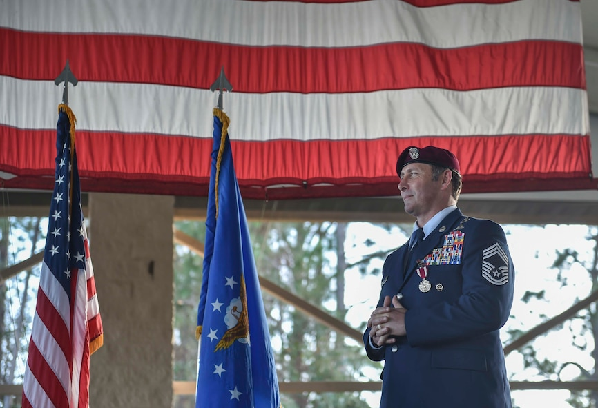 Chief Master Sgt. Davide Keaton, superintendent of the 26th Special Tactics Squadron, retired following a 30-year career at Hurlburt Field, Fla., Jan. 12, 2017. Over the course of Keaton's career, he was decorated nine times for actions that saved dozens -- if not hundreds-- on and off the battlefield. (U.S. Air Force photo by Senior Airman Ryan Conroy)