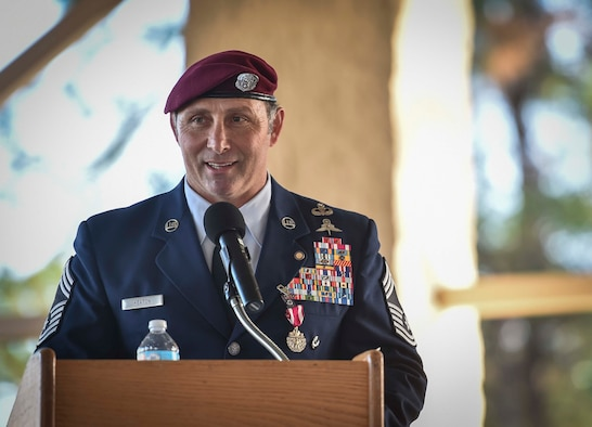Chief Master Sgt. Davide Keaton, 26th Special Tactics Squadron superintendent, speaks during his retirement ceremony at Hurlburt Field, Fla., Jan. 12, 2017. Over the course of Keaton's 30-year career, he was decorated nine times for actions that saved dozens -- if not hundreds-- on and off the battlefield. (U.S. Air Force photo by Senior Airman Ryan Conroy)