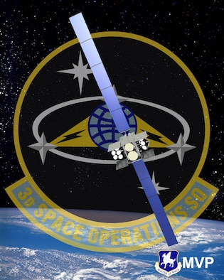 The 3rd Space Operations Squadron advances the 50th Space Wing's priority of innovating space and cyber operations to stay ahead of the enemy by commanding and supporting the launch of the Wideband Global SATCOM-9 spacecraft, which provides a more robust communications capability to both U.S. forces and international partners. (U.S. Air Force photo illustration/1st Lt. Darren Domingo)