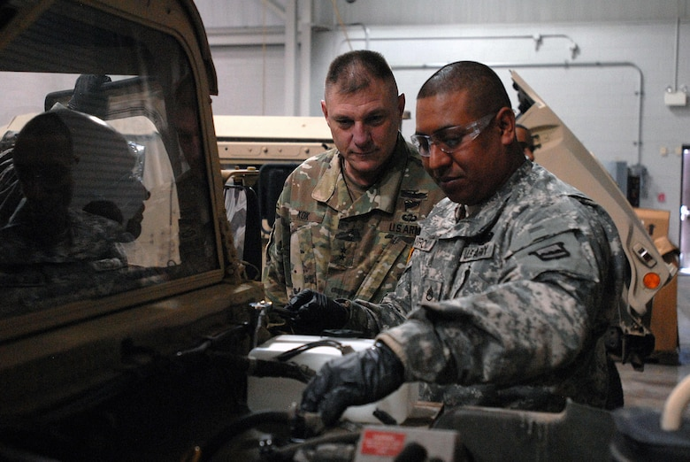 Maj. Gen. Troy D. Kok, commanding general of the U.S. Army Reserve's 99th Regional Support Command, observes training during the command's new Maintenance Sustainment and Readiness Program. The program gives Army Reserve Soldiers the opportunity to perform maintenance tasks at the 99th RSC's Area Maintenance Support Activities and Equipment Concentration Sites in order to increase skill proficiency and enhance unit readiness.