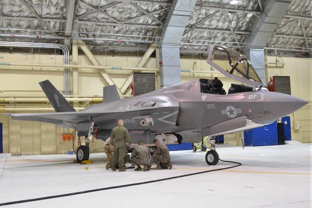 An F-35B Lightening II with Marine Fighter Attack Squadron 121, 3rd Marine Aircraft Wing out of Marine Corps Air Station Yuma, Ariz., stopped at Joint Base Elmendorf-Richardson, Alaska en route to Marine Corps Air Station Iwakuni, Japan, Jan. 12, 2017.  The VMFA-121 was the first operational F-35B squadron in the Marine Corps, with its relocation to 1st Marine Aircraft Wing at Iwakuni. The F-35B was developed to replace the Marine Corps' F/A-18 Hornet, AV-8B Harrier and EA- 6B Prowler. The Short Take-off Vertical Landing (STOVL) sensor technology, and electronic warfare systems bring all of the access and lethality capabilities of a fifth-generation fighter, a modern bomber, and an adverse-weather, all-threat environment air support platform.  U.S Air Force Photo by Staff Sgt. Mike Campbell Joint Base Elmendorf-Richardson, AK, UNITED STATES 01.12.2017