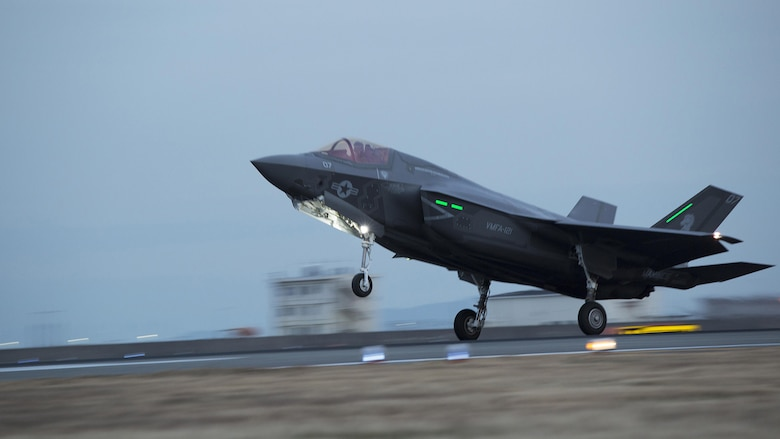 An F-35B Lightning II with Marine Fighter Attack Squadron 121, lands at Marine Corps Air Station Iwakuni, Jan. 18, 2017.  VMFA-121 conducted a permanent change of station to MCAS Iwakuni, from MCAS Yuma, Ariz., and now belongs to Marine Aircraft Group 12, 1st Marine Aircraft Wing, III Marine Expeditionary Force. The F-35B Lightning II is a fifth-generation fighter, which is the world's first operational supersonic short takeoff and vertical landing aircraft. The F-35B brings strategic agility, operational flexibility and tactical supremacy to III MEF with a mission radius greater than that of the F/A-18 Hornet and AV-8B Harrier II in support of the U.S. - Japan alliance.