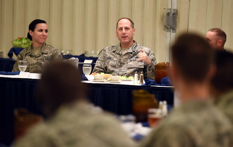 Lt. Gen. Lee Levy, Air Force Sustainment Center commander, speaks at the Junior Force Luncheon at Robins Air Force Base, Georgia, today. The general spoke to attendees about their importance to the mission and their essential contributions to Air Power. (U.S. Air Force photo by Tommie Horton)