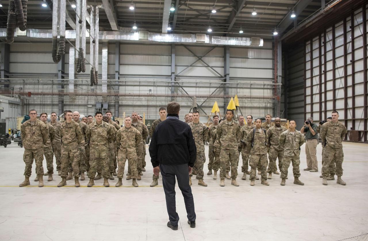 Defense Secretary Ash Carter visits with troops at Bagram Airfield, Afghanistan, Dec. 9, 2016. DoD photo by Air Force Tech. Sgt. Brigitte N. Brantley