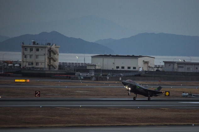 An F-35B Lightning II with Marine Fighter Attack Squadron (VMFA) 121, lands at Marine Corps Air Station Iwakuni, Japan, Jan. 18, 2017. VMFA-121 conducted a permanent change of station to MCAS Iwakuni, from MCAS Yuma, Ariz., and now belongs to Marine Aircraft Group 12, 1st Marine Aircraft Wing, III Marine Expeditionary Force. The F-35B Lightning II is a fifth-generation fighter, which is the world's first operational supersonic short takeoff and vertical landing aircraft. The F-35B brings strategic agility, operational flexibility and tactical supremacy to III MEF with a mission radius greater than that of the F/A-18 Hornet and AV-8B Harrier II in support of the U.S. – Japan alliance. (U.S. Marine Corps photo by Cpl. Aaron Henson)