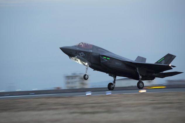 An F-35B Lightning II with Marine Fighter Attack Squadron (VMFA) 121, lands at Marine Corps Air Station Iwakuni, Japan, Jan. 18, 2017. VMFA-121 conducted a permanent change of station to MCAS Iwakuni, from MCAS Yuma, Ariz., and now belongs to Marine Aircraft Group 12, 1st Marine Aircraft Wing, III Marine Expeditionary Force. The F-35B Lightning II is a fifth-generation fighter, which is the world's first operational supersonic short takeoff and vertical landing aircraft. The F-35B brings strategic agility, operational flexibility and tactical supremacy to III MEF with a mission radius greater than that of the F/A-18 Hornet and AV-8B Harrier II in support of the U.S. – Japan alliance. (U.S. Marine Corps photo by Lance Cpl. Joseph Abrego)