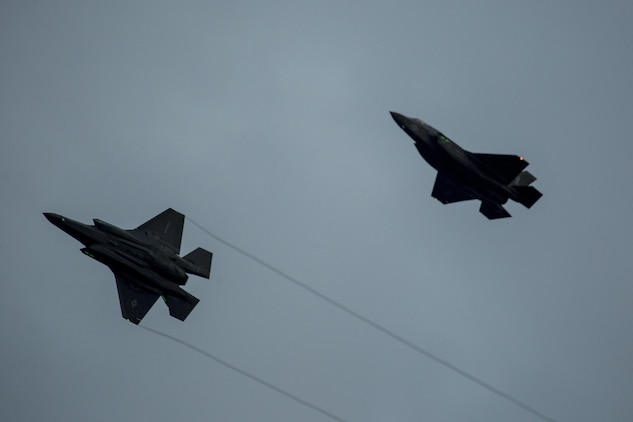 Two F-35B Lightning II aircraft with Marine Fighter Attack Squadron (VMFA) 121, prepare to land at Marine Corps Air Station Iwakuni, Japan, Jan. 18, 2017. VMFA-121 conducted a permanent change of station to MCAS Iwakuni, from MCAS Yuma, Ariz., and now belongs to Marine Aircraft Group 12, 1st Marine Aircraft Wing, III Marine Expeditionary Force. The F-35B Lightning II is a fifth-generation fighter, which is the world's first operational supersonic short takeoff and vertical landing aircraft. The F-35B brings strategic agility, operational flexibility and tactical supremacy to III MEF with a mission radius greater than that of the F/A-18 Hornet and AV-8B Harrier II in support of the U.S. – Japan alliance. (U.S. Marine Corps photo by Cpl. Aaron Henson)