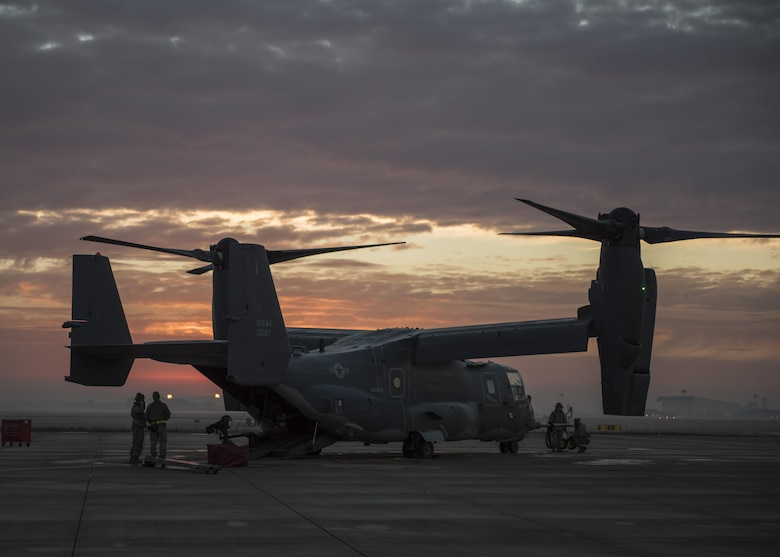U.S. Airmen from the 352d Special Operations Maintenance Squadron inspect a CV-22 refueling probe for leaks, cracks and deterioration prior to launch Jan. 17. 2017 on RAF Mildenhall, England. From pre-flight inspections to phase maintenance, 352 SOMXS personnel inspect these tiltrotor aircraft multiple times annually in support of an active, long-range special operations role. (U.S. Air Force photo by 1st Lt Chris Sullivan)