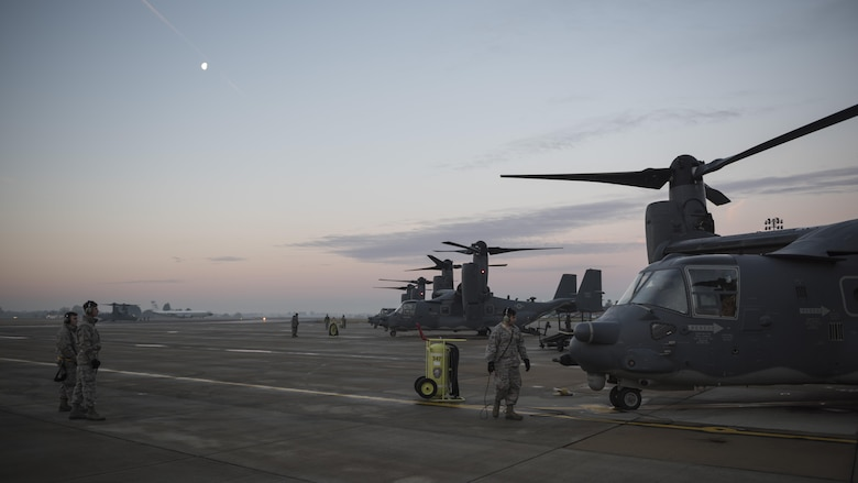 U.S. Airmen from the 352d Special Operations Maintenance Squadron prepare to launch CV-22 Ospreys in the early morning Jan. 17, 2017 on RAF Mildenhall, England. From inspection to launch, maintenance Airmen from five career fields work night and day to ensure the CV-22 is prepared to deliver its one-of-a-kind combination of speed, range and operational flexibility for special operations missions. (U.S. Air Force photo by 1st Lt Chris Sullivan)