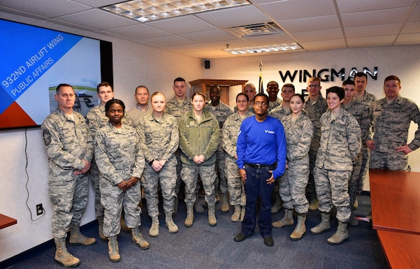 Welcome to the wing!  Some of the recent newcomers to the unit are pictured here during the public affairs briefing section on January 8, 2017, Scott Air Force Base, Ill. They received an overview of the wing's strategic plan, during the January UTA (Unit Training Assembly) as various shops spoke to these newest additions of the 932nd Airlift Wing during the Newcomers Orientation Course at Scott Air Force Base, Illinois. The two day course provides new members with valuable information about the mission of the Illinois unit, and they hear from various subject matter experts who help them with being productive members of team Scott.  (U.S. Air Force photo by Tech. Sgt. Christopher Parr)