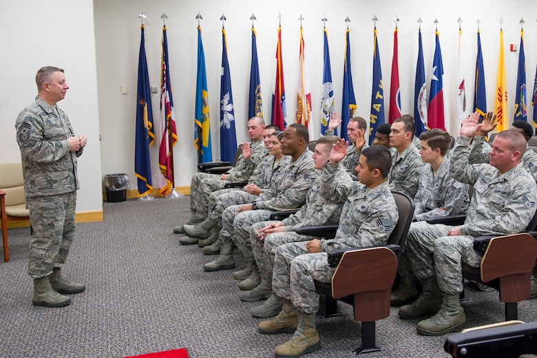 Chief Master Sgt. Brendan Criswell, Air Force Space Command command chief, briefs and motivates Airman Leadership School Airmen at the Professional Development Center, during his visit to Patrick Air Force Base, Fla., Jan. 12, 2017. (U.S. Air Force photo by Matthew Jurgens)