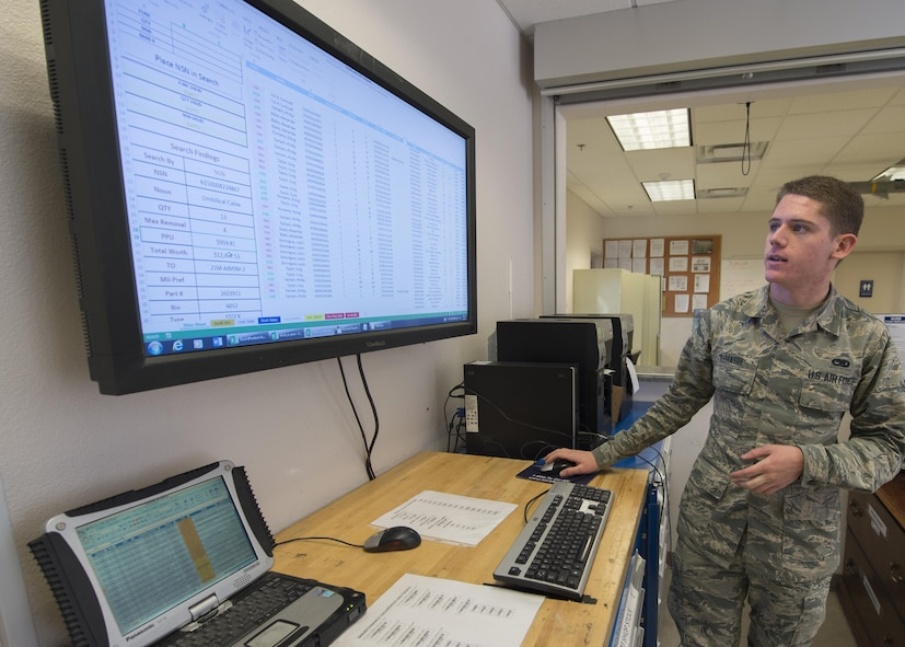 Airman Phillip Tashash, a 49th Maintenance Squadron munitions specialist, does an inventory transaction using the Automated Supply Accountability Program, Jan. 9, 2017, at Holloman Air Force Base, N.M. The ASAP is a new program that Holloman's AMMO flight uses to track quantity and prices of assets. Tashash created the program, which allows personnel to perform accurate transactions in 10 seconds, rather than five minutes with the old system. (U.S. Air Force photo by Senior Airman Emily Kenney)