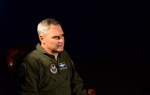 Lt. Gen. Chris Nowland, Air Force deputy chief of staff for operations, plans and requirements (AF/A3), talks about the current pilot shortage across the Air Force at Nellis Air Force Base, Nevada, Jan. 10, 2017. In September 2015, the Chief of Staff of the Air Force directed a Fighter Enterprise Redesign to focus on developing a strategy and implementation plan to ensure the Air Force has an enduring, proficient and sufficient fighter pilot force. (U.S. Air Force photo by Airman 1st Class Nathan Byrnes/Released)