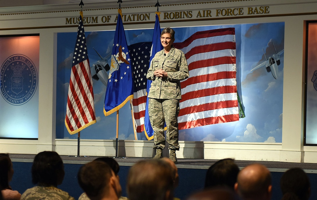 Gen. Ellen M. Pawlikowski, Air Force Materiel Command commander, speaks to members of Team Robins during her commander's call at the Museum of Aviation Century of Flight Hangar Jan. 18, 2017. During the commander's call, the general discussed the AFMC Strategic Plan, released in 2016, which established the following four goals: Increasing AFMC's agility in order to best support the Air Force enterprise; Bolstering trust and confidence of those AFMC serves; Driving cost-effectiveness into the capabilities the command provides; and, Recruiting, developing and retaining a diverse, high-performing and resilient team. (U.S. Air Force photo by Tommie Horton)