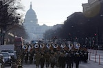Service members march down Pennsylvania Avenue in a dress rehearsal for the 58th Presidential Inauguration in Washington, D.C., Jan. 15, 2017. Army photo by David Vergun