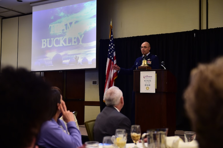Col. David Miller Jr., 460th Space Wing commander on Buckley Air Force Base, Colo., addresses community leaders at the annual State of the Base, Jan. 18, 2017, in Aurora. The State of the Base allows the installation commander to review the accomplishments of 2016, and give a preview of what is to come in 2017.