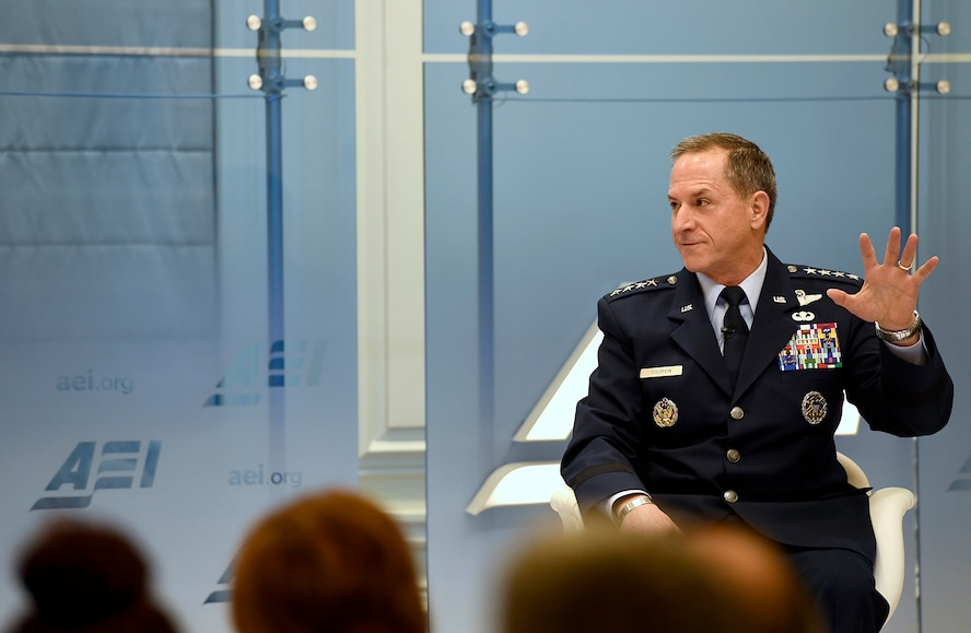 Air Force Chief of Staff Gen. David L. Goldfein discusses the current state and future of the Air Force with former Rep. Jim Talent, the senior fellow and director of the National Security 2020 Project, Marilyn Ware Center for Security Studies, in Washington, D.C., Jan. 18, 2017.  (U.S. Air Force photo/Scott M. Ash)
