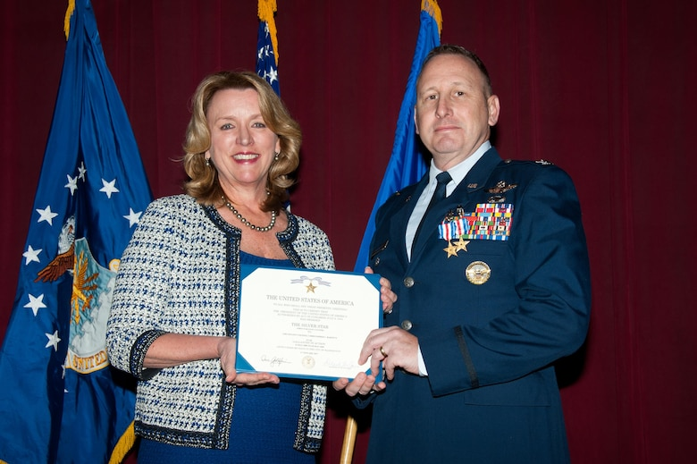 The Honorable Deborah Lee James, 23rd Secretary of the Air Force, arrives at Maxwell to present Air War College faculty member Colonel Christopher C. Barnett the Silver Star and the Silver Star first oak leaf cluster, Jan. 19, 2017. Secretary James chose her last day to honor Barnett for his gallantry in connection with 2009 military operations against an armed enemy of the United States, as well as to announce upgraded medals awarded to seven additional Airmen. (US Air Force photo by Melanie Rodgers Cox)