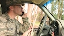 Staff Sgt. Kaleb Mayfield, 30th Space Wing broadcast journalist, demonstrates some common ways people are distracted while driving, Jan. 19, 2017, Vandenberg Air Force Base, Calif. With a higher tempo of accidents around VAFB in the last several weeks, and the excessive rainfall, being a safe and defensive driver is ever more prevalent. (U.S. Air Force photo by Senior Airman Ian Dudley/Released)