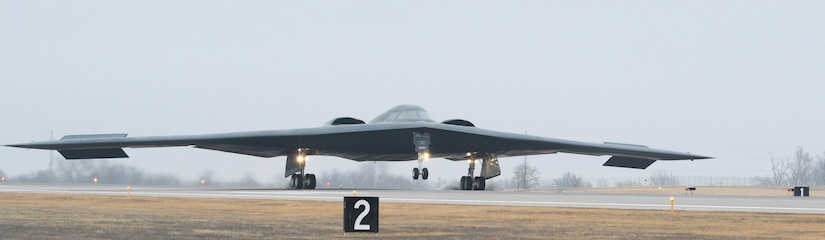 A B-2 Spirit stealth bomber lands at Whiteman Air Force Base, Mo., Jan. 19, 2017. Two B-2s returned after an approximate 30-hour sortie in support of operations near Sirte, Libya. In conjunction with the Libyan Government of National Accord, the U.S. military conducted precision airstrikes Jan. 18, 2017, destroying two Daesh camps 45 kilometers southwest of Sirte. (U.S. Air Force photo by Senior Airman Joel Pfiester)