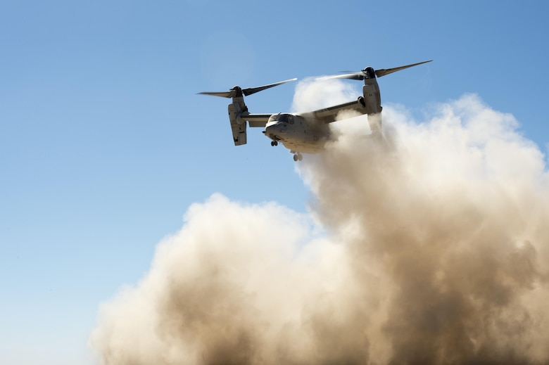 Service members from the Air Force, Army and Marine Corps participate in sustainment training at Grand Bara, Djibouti, Jan. 5, 2017. During the exercise Air Force joint terminal attack controllers, along with Soldiers from the 101st Infantry Battalion and Marines from the 11th Marine Expeditionary Unit conducted training utilizing MV-22 Ospreys and F-16 Fighting Falcons. (U.S. Air Force photo/Tech. Sgt. Joshua J. Garcia)