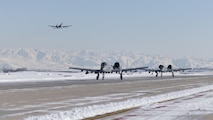 An A-10C Thunderbolt II from the 190th Fighter Squadron takes off for a training mission shortly after a snowstorm Jan. 6, 2017, at Gowen Field, Idaho. (U.S. Air Force photo/Tech. Sgt. John Winn)