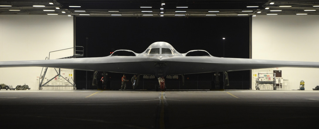 A B-2 Spirit from the 590th Bomb Wing at Whiteman Air Force Base, Mo., prepares to take off in support of operations near Sirte, Libya. In conjunction with the Libyan Government of National Accord, the U.S. military conducted precision airstrikes Jan. 18, 2017, destroying two Islamic State of Iraq and the Levant camps, 45 kilometers southwest of Sirte. (U.S. Air Force photo/Senior Airman Joel Pfiester)