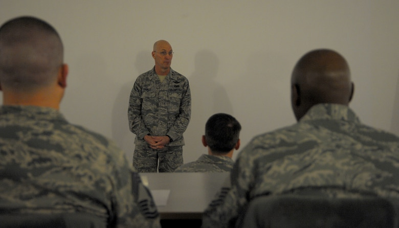 Maj. Gen. Timothy Zadalis, U.S. Air Forces in Europe and Air Forces Africa vice commander, speaks to attendees of a Continuous Process Improvement Senior Leader Course at Ramstein Air Base, Germany, Jan. 9, 2017. Zadalis challenged the leaders to allow, encourage, and support their Airmen to make the changes their units and the Air Force needs to be a more efficient organization. (U.S. Air Force photo by Staff Sgt. Timothy Moore)
