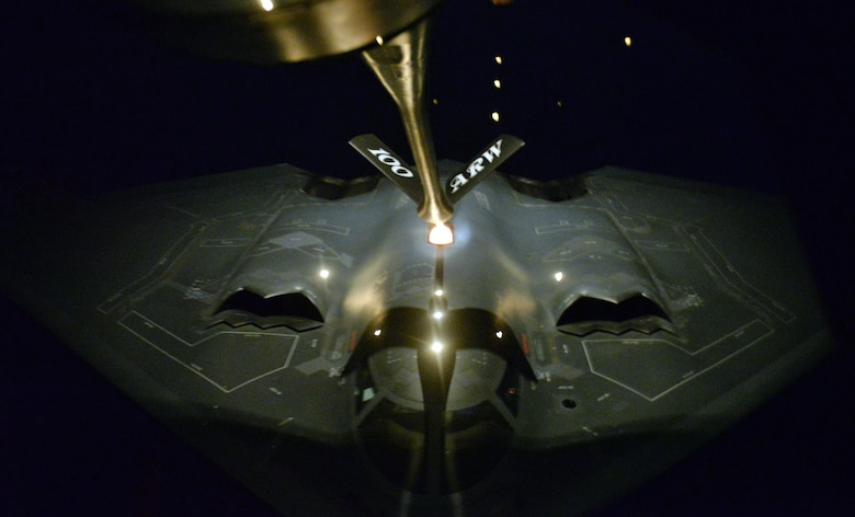 A KC-135 Strantotanker from the 100th Air Refueling Wing refuels a B-2 Spirit from the 509th Bomb Wing in the late hours of Jan. 18, 2017, during a mission that targeted Islamic State training camps in Libya. The B-2's low-observability provides it greater freedom of action at high altitudes, thus increasing its range and a better field of view for the aircraft's sensors. Its unrefueled range is approximately 6,000 nautical miles (9,600 kilometers). (U.S. Air Force photo by Staff Sgt. Kate Thornton)