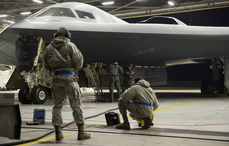 Airmen from the 509th Bomb Wing at Whiteman Air Force Base, Missouri prepare B-2 Spirit stealth bombers for operations near Sirte, Libya. In conjunction with the Libyan Government of National Accord, the U.S. military conducted precision airstrikes Jan. 18, 2017 destroying two Daesh camps 45 kilometers southwest of Sirte. (U.S. Air Force photo by Senior Airman Joel Pfiester)