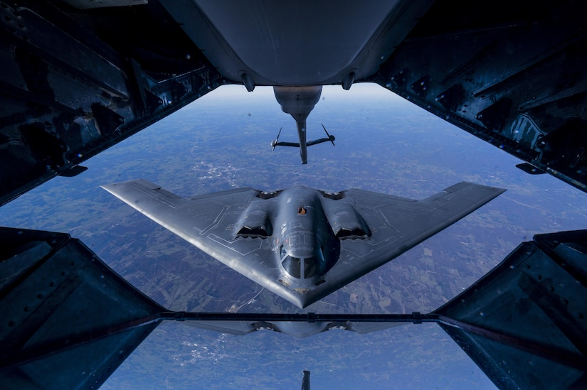 A 2nd Air Refueling Squadron KC-10 Extender from Joint Base McGuire-Dix-Lakehurst, N.J., prepares to refuel a B-2 Spirit, during a training exercise near Kansas, Nov. 10, 2016. The KC-10 Extender is an Air Mobility Command advanced tanker and cargo aircraft designed to provide increased global mobility for U.S. armed forces. Although the KC-l0's primary mission is aerial refueling, it can combine the tasks of a tanker and cargo aircraft by refueling fighters and simultaneously carry the fighter support personnel and equipment on overseas deployments. (U.S. Air Force photo by Senior Airman Keith James/Released)