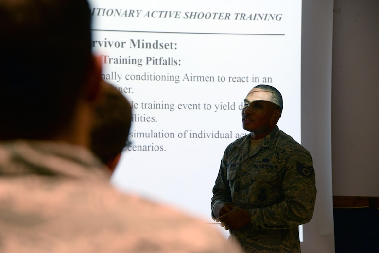 Staff Sgt. Karriem Abdulahad, 86th Security Forces Squadron training instructor, teaches the Expeditionary Active Shooter Training course information to his students at Ramstein Air Base, Germany, Dec. 15, 2016. The EAST course teaches Airmen preparing to deploy how to handle an active shooter situation in a practical manner that can be used day-to-day. (U.S. Air Force photo by Airman 1st Class D. Blake Browning)