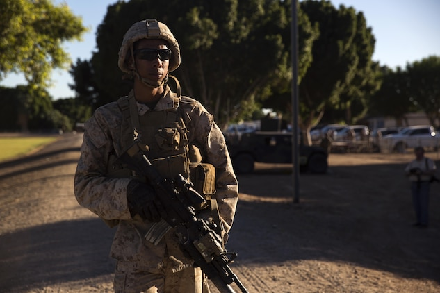 A Marine with 2nd Battalion, 3rd Marine Regiment, based out of Marine Corps Base Hawaii, provides security at Kiwanis Park in Yuma, Ariz., during a Humanitarian Assistance/Disaster Relief (HA/DR) Exercise hosted by Marine Aviation Weapons and Tactics Squadron One during the Weapons and Tactics Instructor Course 1-17, Friday, October 14, 2016. The exercise was conducted to test and improve student capabilities to evaluate, plan and execute support to civilians impacted by conflict and/or natural disasters through a real-world scenario that requires quick reaction forces to extract U.S. and allied forces personnel from hostile environments.