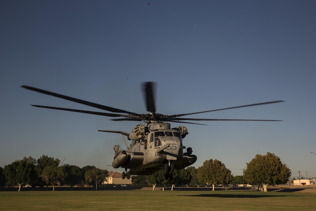 A CH-53E helicopter, with Marine Aviation Weapons and Tactics Squadron One lands to offload personnel to render aid and provide disaster relief to displaced civilians, role-players, at Kiwanis Park in Yuma, Ariz. during a Humanitarian Assistance/Disaster Relief (HA/DR) Exercise, part of the Weapons and Tactics Instructor Course 1-17, Friday, October 14, 2016. The training exercise enabled ground, aviation and support Marines and sailors to work as a team to practice deploying medical personnel, supplies, and extract personnel and people displaced from their communities.