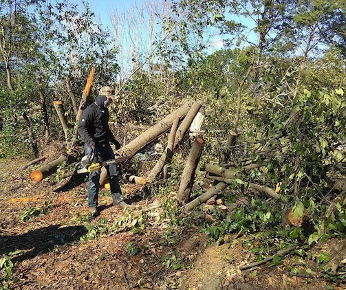 Cpl. Kane Keaton, admin clerk, Military Personnel, Marine Corps Logistics Base Albany, uses his chainsaw to cut trees after severe storms swept through the city of Albany, Ga., and surrounding counties, Jan. 7.