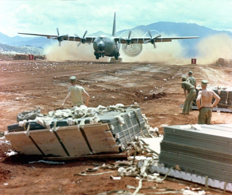Khe Sanh, South Vietnam, an isolated United States Marine Corps out post during the Vietnam War became too dangerous to land due to hostile ground fire and shelling. To accommodate, C-130s used the Low Altitude Extraction System and kept the Marines resupplied with rations, fuel, ammunition and medical supplies. (Courtesy photo)