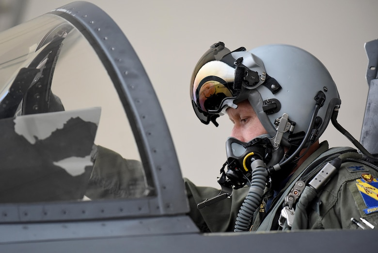 Col. Christopher Sage, 4th Fighter Wing commander, performs a preflight check during his first Razor Talon experience, Jan. 20, 2017, at Seymour Johnson Air Force Base, North Carolina. Sage said Razor Talon provides a realistic training environment and opportunities for aircrew and maintainers to sharpen their skills. (U.S. Air Force photo by Airman 1st Class Kenneth Boyton)