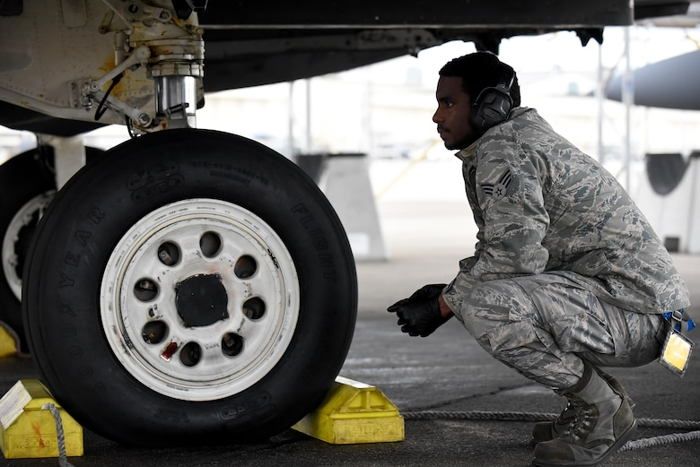 Senior Airman Jihad Elijah Muse, 4th Aircraft Maintenance Squadron avionics specialist, provides maintenance support for Razor Talon, Jan. 20, 2017, at Seymour Johnson Air Force Base, North Carolina. Seymour Johnson AFB designed Razor Talon in 2013 as an exercise to combine land, air and sea forces for joint unit participation and collaboration. (U.S. Air Force photo by Airman 1st Class Kenneth Boyton)