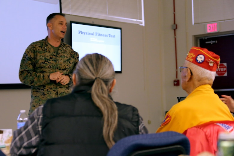 Brig. Gen. Matthew Glavy speaks to Marines aboard Marine Corps Air Station Cherry Point, N.C., Jan. 17, 2017. Glavy spoke to Marines assigned to Marine Unmanned Aerial Vehicle Squadron 2, Marine Aircraft Group 14, 2nd Marine Aircraft Wing, in regards to the past, present and future of the Marine Corps. Glavy is the 2nd MAW commanding general. (U.S. Marine Corps photo by Cpl. Jason Jimenez/ Released)