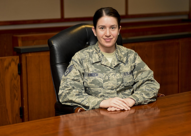 Staff Sgt. Jessica Benisch, a paralegal assigned to the 28th Bomb Wing Legal Office, sits inside the 28th Bomb Wing court room, on Jan. 12, 2017, at Ellsworth Air Force Base, S.D. Benisch was awarded the Castleman Award for 2015, recognizing her as the most outstanding paralegal in Air Force Global Strike Command. (U.S. Air Force photo by Airman 1st Class Randahl J. Jenson)