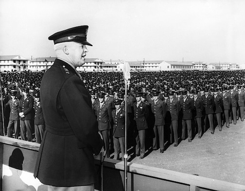 In December 1942, Gen. Hap Arnold stood at Lackland's Parade Grounds and looked out at 10 acres of Airmen – 100, 000 people arrayed in the grandest formation in Air Force history. He told the Airmen of new technologies, strategies and equipment. He told them they would win the war and help guide the future though their training and professionalism. (Courtesy Photo)