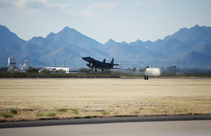 A U.S. Air Force F-15E Strike Eagle from the 334th Fighter Squadron, out of Seymour Johnson Air Force Base, N.C., takes off from Davis-Monthan AFB, Ariz., Jan. 18, 2017. New pilots from the 334th Fighter Squadron participated in a two week training course with the F-15E throughout southern Arizona's military operating areas. (U.S. Air Force photo by Airman 1st Class Giovanni Sims)
