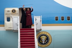 Former President Barack Obama and his wife Michelle Obama wave goodbye as they board Special Air Mission 44 at Joint Base Andrews, Md., Jan. 20, 2017. Throughout his eight-year tenure as president, Obama traveled to and from JBA aboard Air Force One more than 600 times and traveling all over the world.