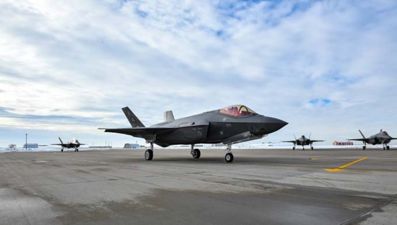 F-35A Lightning IIs piloted by the 388th and 419th Fighter Wings prepare to depart Hill AFB, Utah, Jan. 20 for Nellis AFB, Nev., to participate in a Red Flag exercise. Red Flag is the U.S. Air Force's premier air-to-air combat training exercise.This is the first deployment to Red Flag since the Air Force declared the jet combat ready in August 2016. (U.S. Air Force photo/R. Nial Bradshaw)