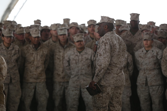 Sergeant Major of the Marine Corps, Sgt.Maj. Ronald L. Green, speaks with Marines currently forward deployed to the Middle East with Special Purpose Marine Air-Ground Task Force-Crisis Response-Central Command, Dec. 22, 2016.